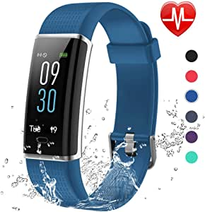 Lintelek, Fitness Tracker, con cardiofrequenzimetro, 14 modalità di Sport programmabili, Orologio Smart con Bluetooth e contapassi, per Uomo, Donna e Bambino