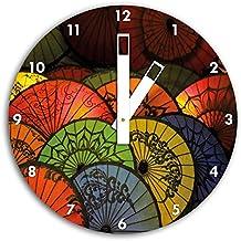 imagen Paraguas japonés el reloj de pared con el blanco blunt las manos y la cara, de 30 cm de diámetro, decoración perfecta para su hogar, idea regalo estupendo para jóvenes y mayores
