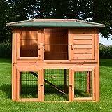 Zooprimus Kaninchenstall 38 Hasenkäfig - STADTVILLA - Stall für Außenbereich (für Kleintiere: Hasen, Kaninchen, Meerschweinchen usw.)