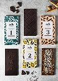 LUXURIOUS Organisch Veganes Schokoladen-Geschenksortiment 3 Geschmacksrichtungen Zartbitterschokolade mit Rosinen und Minze/Lavendel und Zitrone/Mandeln und Zimt