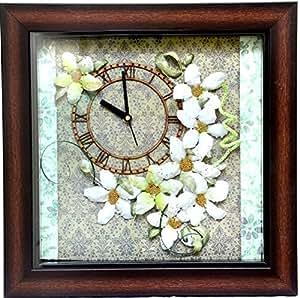 DIA Creation Wooden with Sospeso Work Analog Square Wall Clock (L 30 cm x B 30 cm x H 3 cm)
