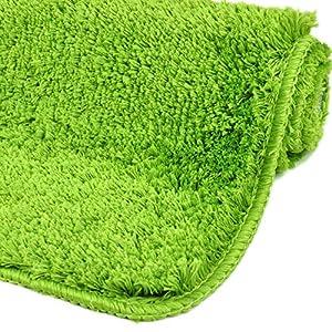 WohnDirect Badezimmerteppich | Badematte zum Set kombinierbar - kuscheliger Hochflor | Rutschfester Badvorleger | WC Garnitur - Waschbarer Badteppich - 60x100cm | Grün