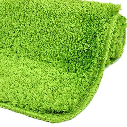 WohnDirect Badezimmerteppich | Badematte zum Set kombinierbar - kuscheliger Hochflor | Rutschfester Badvorleger | WC Garnitur - Waschbarer Badteppich - 45x45cm OHNE WC Ausschnitt | Grün