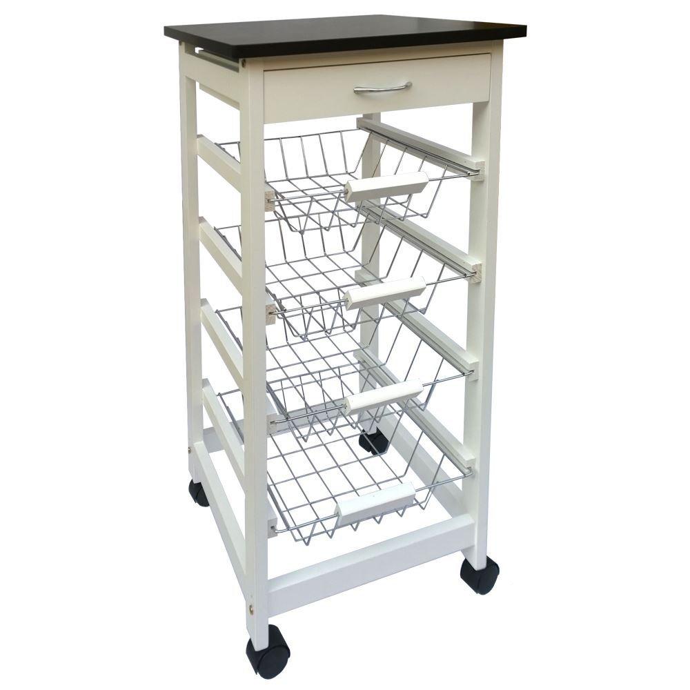 Kitchen Trolley Cart 4 Tier Storage Baskets Drawer White