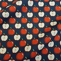 Stoff Meterware Baumwolle blau rot Apfel Äpfel dunkelblau marine Bekleidung Neu