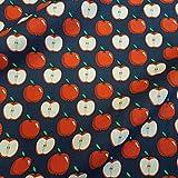 Stoff Baumwollstoff Meterware blau rot Apfel Äpfel