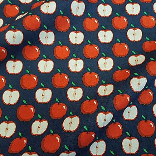 Stoff Baumwollstoff Meterware blau rot Apfel Äpfel dunkelblau weiß Bekleidungsstoff Dekostoff - Apple-weiß-kleidung