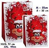 Unbekannt 5 Stück _ Geschenkbeutel / Geschenktaschen -  lustiges Rentier - Weihnachten  _ XXL Groß - 49 cm ! _ Weihnachtstüten - Geschenktüten / Geschenkverpackung - ..