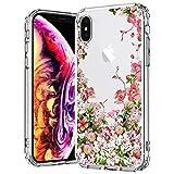 MOSNOVO Coque iPhone XS/Coque iPhone X, Jardin Floral Flower Blossom Fleur Clair...