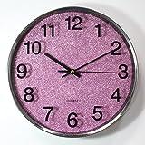 Stumme Edelstahl runde Glocke Uhr Wohnzimmer Schlafzimmer Wanduhr Uhren und Uhren ( Farbe : Lila )
