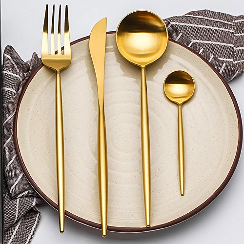 LEKOCH 4-Piece Luxury Cutlery 18/10 Stainless Steel Royal Flatware Including Fork Knife Spoons Set for 1 (Golden)