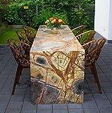 Großer Naturstein Tisch aus sehr seltenem Rainforest Brown Marmor mit wunderschönen Maserungen. 240 x 70 cm. Andere Maße möglich.