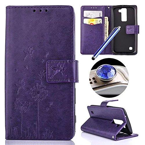Custodia per LG K8, Etsue lusso di stile del dente di leone modello di colore puro marrone ultra molle Portafoglio in pelle cassa di libro Con chiusura magnetica Ultra Slim Fit Sottile flip copertura  Dandelion,Purple