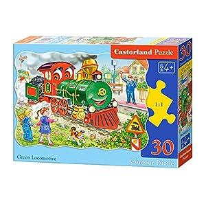 CASTORLAND Green Locomotive 30 pcs Contour Puzzle 30 Pieza(s) - Rompecabezas (Contour Puzzle, Dibujos, Preescolar, Niño/niña, 4 año(s), Interior)