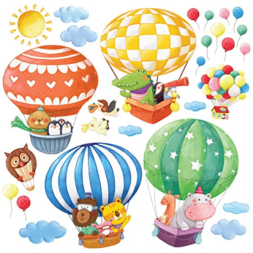 Decowall DS-8006 Globos Aerostáticos de Animales Vinilo Pegatinas Decorativas Adhesiva Pared Dormitorio Salón Guardería Habitación Infantiles Niños Bebés (Pequeña)
