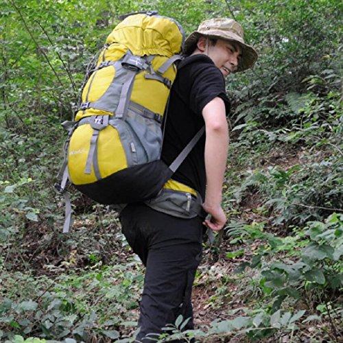 LF&F Backpack Camping outdoor Zaini Borse 50L di grande capacità escursioni all'aperto alpinismo zaino da equitazione con copertura a pioggia solido e durevole zaino maschile e femminile generale oran yellow