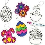 Suncatcher Anhänger Ostern für Kinder zum Basteln und als Fensterdeko (6 Stück)