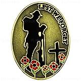 Grand modèle de 1,4 'Inscription Lest We Forget Soldier & coquelicot Badge à Pin's UK Antique Doré