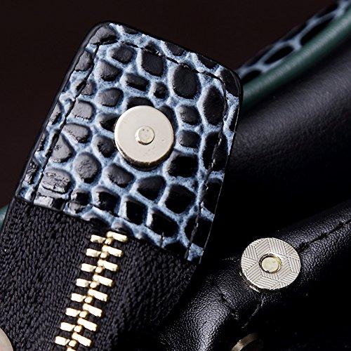 Teemzone - Les Porte-documents de relief Alligator Crocodile Texture Véritable cuir à la mode Couleur Bleu Hommes Sac à bandoulière en cuir de vache sac à main pour hommes (Bleue) Bleue