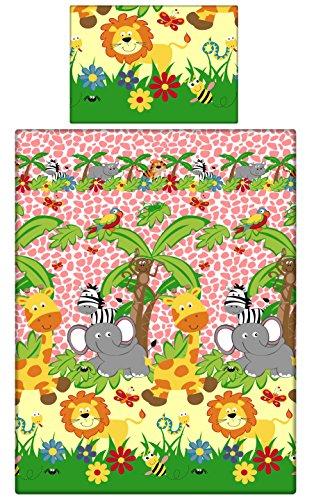 babies-island A 2-teiliges Bettwäsche-Set Kissenbezüge + Bettbezug für Baby Kleinkind To Fit Kinderbett/– Pink Zoo Safari (Safari Bettbezug-set)