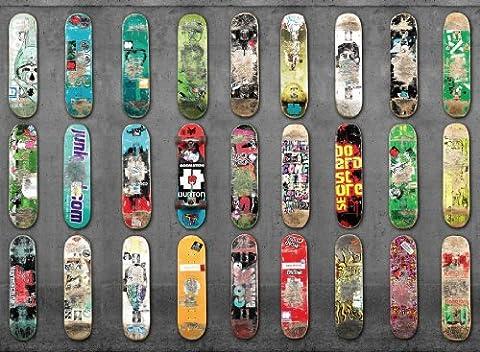 P171501-8 Foto-Tapete Vlies-Wandbild Skateboards aufgereiht an Betonwand Sport-Motiv (Skateboard Boy Wand)