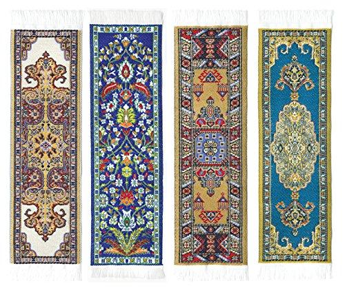 Oriental tappeto segnalibri # 3-Autentico tappeto intrecciato (set da 4)