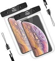 YOSH Funda Impermeable Móvil Universal 2 Unidades, IPX8 Certificado, Bolsa Sumergible para iPhone X 8 7 6s Samsung J5 J3...