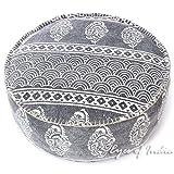 Eyes Of India - 24 X 8 Schwarz Grau Grau Dhurrie Rund Pouf Pouffe Ottomane Deckel Boden Sitz Unkonventionell Boho Indisch