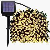 Luces Solar Exterior Tira Lamparas led de Decoración/ Garden iluminación de 22 metros, 200 LEDs de decoración con de 8 modos de cambia las formas ,impermeable, perfecto para Fiestas, Boda, Arbóles Navidad, Jardín, Terraza y al Aire Libre (luz cálida)