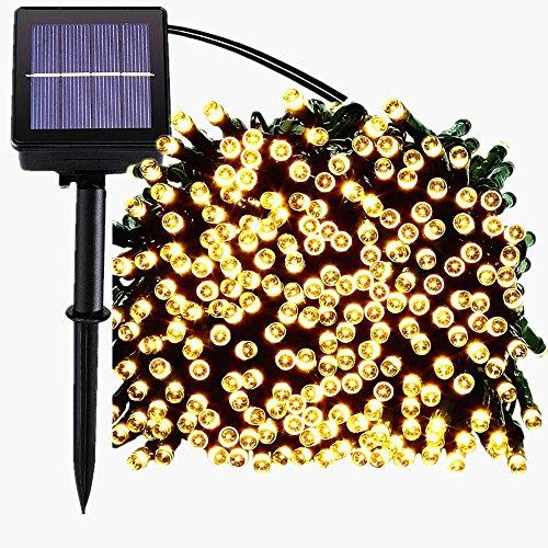 Guirlande Solaire Lumière,72ft 200led guirlande lumineuses exterieur,guirlande led solaire,8 mode scintillant imperméable lampe arbre lumineux led pour noel,mariage,jardin decoration (blanc chaud)