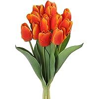 Roqueen 12 Pezzi Tulipani Artificiali Tocco Reale Fiori Finti per Casa Nozze Mazzo Festa Preparativi Ufficio DIY…