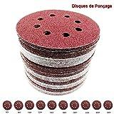 Yakamoz 50pcs 8 Trous Φ125mm Disques de Ponçage Alumine Papier de Sable Forme Ronde Pour Ponceuse Disques de Meulage Crochet et Boucle Disque de Polissage 60/80/100/120/150/180/240/320/400/600 Grit