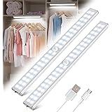 Tanbaby Lampe de Placard 40 LED, Sans Fil, Rechargeable par USB, Aimanté, Détecteur de Mouvement, 4 Modes d'Éclairage, Portab