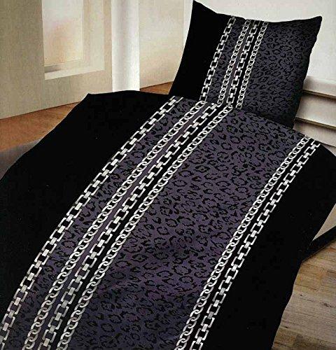 4-Teilig Microfaser Bettwäsche Set mit Reißverschluss 2x 135x200 Bettbezug + 2x 80x80 Kissenbezug , Öko-Tex Standart 100 newyork kette (Art-deco-bettwäsche)