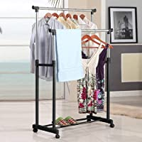 DHYANI Adjustable Stainless Steel Double Pole Multipurpose Cloth Storage Rack with Wheels Garments Hanging Stand [Multi]