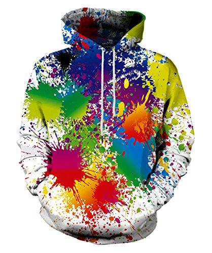 Syaimn Unisex Realistische 3D Digital Print Pullover Hoodie Kapuzen Sweatshirt XXL