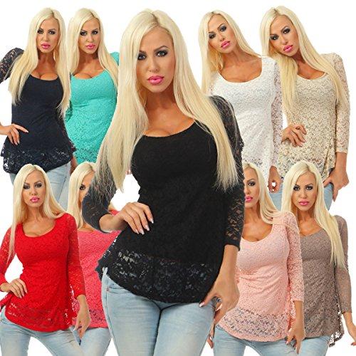 5252 Fashion4Young Damen Spitzen Bluse Langarm Vokuhila Shirt Blusenshirt Rückenfrei Stretch Türkis