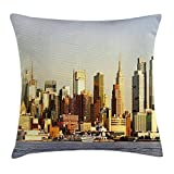 Cityscape Throw Pillow Cushion Cover by, Manhattan Skyscrapers from Hudson River New York American Town Landscape, Decorative Square Accent Pillow Case, 18 X 18 inches, Sepia Baby Blue