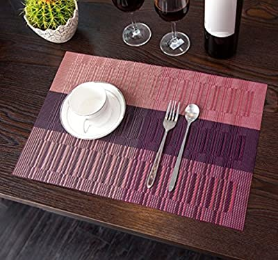 ZUOYETYK Set of 4 Professional Heat Insulation Waterproof Non-slip PVC Table Mats Protector Dining Decoration 45 x 30 cm in 4 Colors - inexpensive UK light shop.