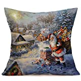 KaloryWee Sale Merry Christmas Linen Santa Pillow Cases Sofa Cushion Cover Home Decoration