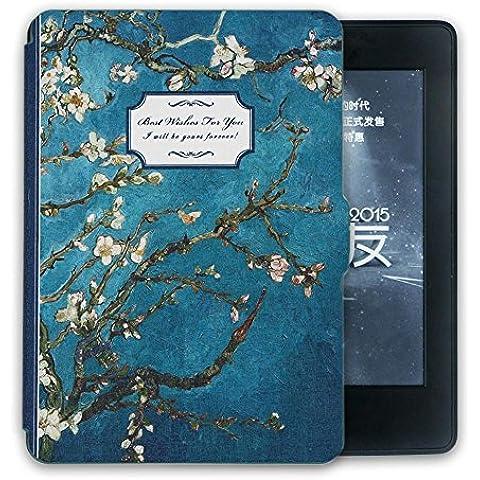 Caseable Custodia per Amazon Kindle Paperwhite,Case,Van Gogh fiori,verde