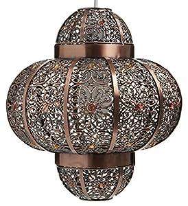 Moroccan Beaded Bronze Ceiling Pendant Chandelier Lightshade from Lux Atelier