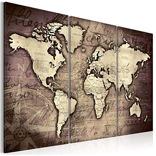 decomonkey Bilder Weltkarte 135x90 cm 3 Teilig Leinwandbilder Bild auf Leinwand Vlies Wandbild Kunstdruck Wanddeko Wand Wohnzimmer Wanddekoration Deko Welt Karte Landkarte Kontinente -