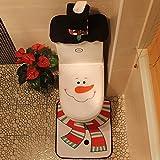 Reefa Weihnachten Thema Wc-Sitzbezug und Teppich Set Badezimmer Dekorationen Lieferungen, 3 Stück Happy Xmas Home Decor