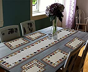 "Glamkart Jacquard Linen 7 Piece Mat with Table Runner -  13"" x 18"", Multicolour (AMAZON02A)"