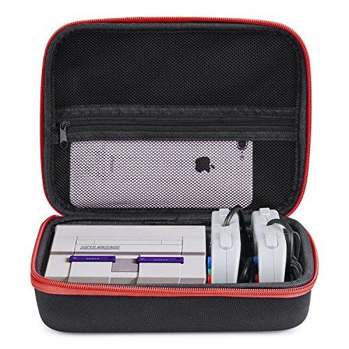 Estuche Super NES Classic Mini – Basstop Bolsa de almacenamiento rígida para maletas rígidas para la mini consola clásica de SNES (versión 2017), Dos controladores y cable HDMI