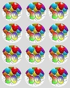 12x 80ème Anniversaire Papier De Riz fée / cupcake 40mm cercle décoration décoration