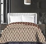 DecoKing 86728 Tagesdecke 220 x 240 cm beige cappuccino braun schoko Bettüberwurf zweiseitig pflegeleicht geometrisches Muster brown chocolate Hypnosis Collection Rhombuses