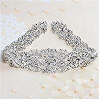 Cinturón de vestidos de novia DIY Coloreado Appliques Rhinestone con cristales y perlas (Plata)