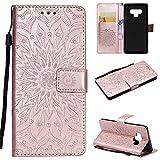 YongYeYaoBEN für Samsung Galaxy Note 9 Brieftasche Sunflower Printing Design PU Leder Flip Schutzhülle mit Halterung Kartensteckplatz & Lanyard & Magnetschnalle